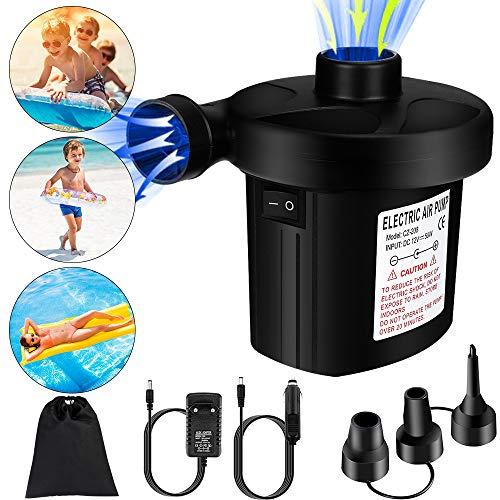Elektrische Luftpumpe, Luftmatratze Planschbecken Elektropumpe AC EU 220V-240V Stecker/DC 12V Auto 2 in 1 Inflate und Deflate mit 3 Luftdüse, Air Pump für aufblasbare Pools, Schwimmring, Boote, Bett -