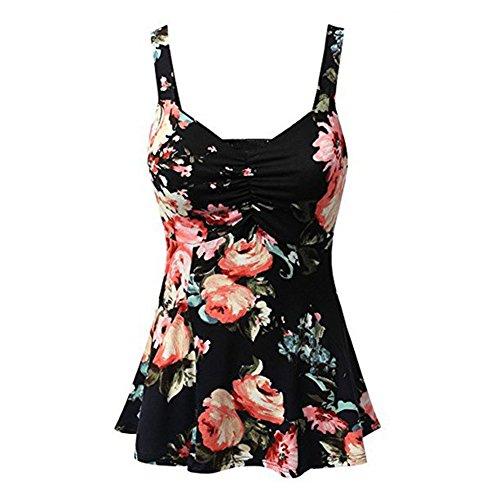 junkai Été sexy sans manches haut gilets hauts L-5XL femmes imprimé floral chemise Noir&rouge
