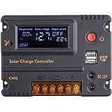 Anself Pro Regulador de Carga 10A 12V 24V LCD Panel Solar Controlador Batería Interruptor Sobrecarga Protección Temperatura Compensación Automática