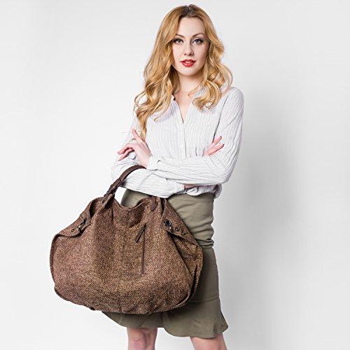 Realer Progettista donne Borsa in cotone casuale Tote e Lino Hobos Borse Muddy colori