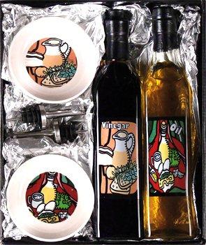 ZIA Collection Essig- und Ölset, Designer Essig-und Ölflasche (leer) mit Ausgießer und Dipschalen in Geschenkbox
