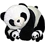 Multi Soft Fabric India Kid's Mother Panda 40 Cm & With Two Baby 26 Cm Stuffed Soft Plush Toys (White & Black)