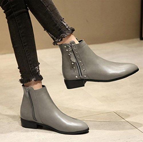 KUKI autunno e inverno donne stivaletti cavalieri scarpe basse rivetti donne stivali scarpe a buon mercato stivali di grandi donne grey