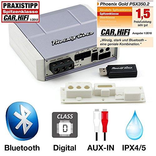 Phoenix Gold PSX350.2 350W 2-Kanal Bluetooth-Verstärker (4X 60W + 1x 200W 4Ω / Full Range Class-D/AUX-In/Line-Out / 12dB HP+TP Frequenzweiche / IPX4/5) für Auto/Marine/Motorrad/Quad/Buggy
