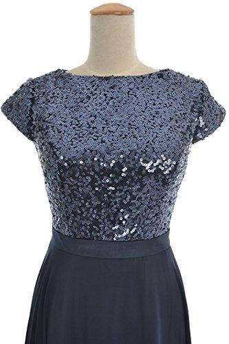 MACloth Women Cap Sleeve Sequin Chiffon Long Birdesmaid Dress Wedding Party Gown Royal Blue