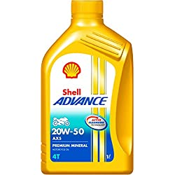 Shell Advance AX5 550039840 20W-50 API SL Premium Mineral Motorbike Engine Oil (1 L)