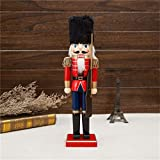 Christmas wooden doll 38 cm Christmas nutcracker soldier shaped dolls doll crafts for Christmas decoration window table office ornament, home, shopping mall, shop, wedding, birthday gift, as shown, B Bild 2