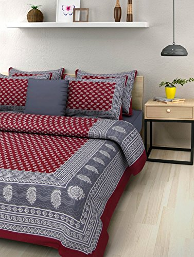 SheetKart Traditional Hand Block Printed 144 TC Cotton Double Bedsheet with 2 Pillow Covers -, Maroon