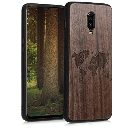 kwmobile Holz Schutzhülle für OnePlus 6T - Hardcase Hülle mit TPU Bumper Walnussholz in Weltkarte Umriss Design Dunkelbraun - Handy Case Cover