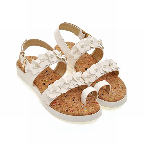 Mee Shoes Damen süß bequem open-toe Flach mit Blümchen und falschen Perlen Zehenring Sandalen Weiß