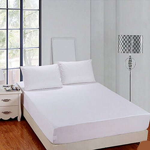 TXYFYP Spannbettlaken, Luxus-Hotel-Luxus-Ultra weiches Polyester, Einzel- und King-Size-Bett, Schutzjacke, Bettwäsche-Set, Tiefe Taschen, Knitter- und lichtbeständig, hypoallergen, weiß, 120 * 200cm