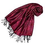 Lorenzo Cana Marken Damen Pashmina Schal Schaltuch Stola Umschlagtuch opulentes Muster in harmonischen Farben mit Fransen 70 x 180 cm 100% Modal