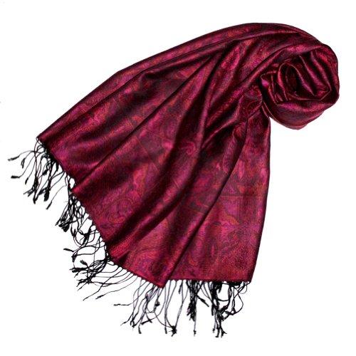 Lorenzo Cana Damen Pashmina Schal Schaltuch Stola Umschlagtuch opulentes Muster in harmonischen Rot Farben mit Fransen 70 cm x 180 cm, 100% Modal - 78105