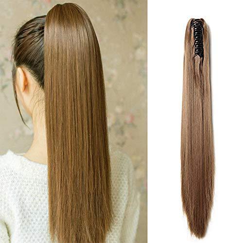 Coda di cavallo extension clip capelli finti lisci lunghi con pinza ponytail extensions straight fascia unica posticci 53 cm 140g [castano chiaro]