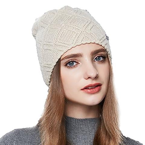 URSFUR Women Diamond Pattern Strings Winter Knit Hat - Khaki