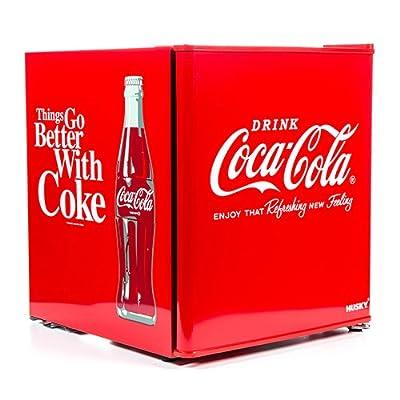Husky HUS-EL196 Coca Cola Design Mini Fridge/Drinks Cooler, Red