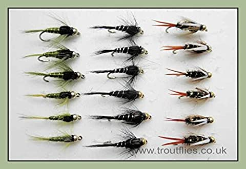 Gold Head Trout Flies, 18 Pack GH Nymph, Prince, Black