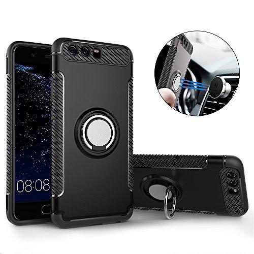 Huawei P10 Plus Hülle ,P10 Plus Handyhülle mit Ring Kickstand - Mosoris Premium Silikon Shell mit 360 Grad Drehbarer Ständer und Handyhalterung Auto Magnet Ring , Dual Layer Stoßfest Rüstung Schutzhülle Bumper Tasche Case Cover für Huawei P10 Plus , Schwarz