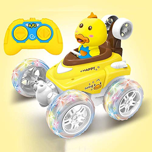 LIIYANN Spielzeug Tumbling Stunt Car Dump Truck Fernbedienung Auto Fernbedienung Auto Modus Laden Kinder Spielzeugauto Junge Mädchen Kleine Gelbe Ente Auto (Farbe: A)