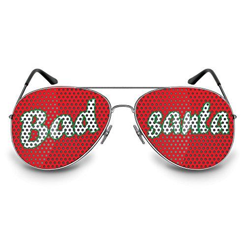 COOLEARTIKEL Partybrille / Spassbrille für Weihnachten, lustige Accessoire Idee für die Weihnachtfeier oder Christmas Party, Atzen-brille mit X-MAS Motiv (Pilot silber, Bad santa)
