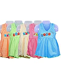 FEEL TRENDY Baby Cotton Daily Usage Frock only top 3 to6 Months 5pis