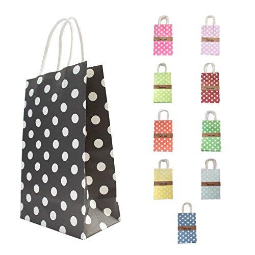Confezione di 10 Twist Handle carta borse / regalo 21 * 13 * 8 cm - Nero