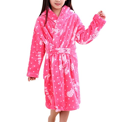 Zhhlinyuan Childrens Kids Boys Girls Flanell Dressing Gown Robes Pink