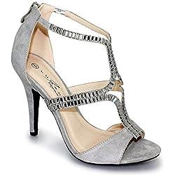 SAPPHIRE BOUTIQUE Damen Pumps Elegant Ausgeschnitten Nieten Besetzt Peep Toe High Heels Clutch Tasche - grau (nur der Schuh), 6 UK