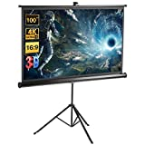 Schermo per Proiettore con o senza Treppiede Full HD 4K 221.40x124.5cm Diagonale 100 Pollici Misura Regolabile,Formato 1:1, 4:3, 16:9 Gain 1.1,Excelvan Telo di Videoproiettore per Casa e Ufficio ecc.