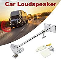 Yorten Super Loud Single Trumpet Square Semi Truck Air Horn 12V/24V with Electric Valve Control Hose 640MM D#DC
