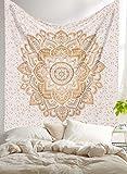 Aakriti Gallery Tapiz, intrincado con diseño hippie e indio, diseño bohemio y psicodélico, 233 x 208 cm