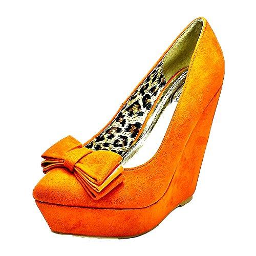 Mesdames suédine Plate-forme de coin talon Chaussures Bow toes Orange