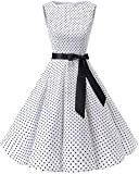 bbonlinedress 50s Retro Schwingen Vintage Rockabilly Kleid Faltenrock White Small Black Dot 2XL