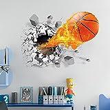 OLSR 3D Baloncesto y fuego Atravesar la pared desmontable impermeable pegatina de pared Pegatinas Decorativas Adhesiva Pared Dormitorio Salón Guardería Habitación Bebés Infantiles Niños (02)