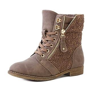 Marimo24 Damen #Trendboot Stiefel Stiefeletten Worker Boots mit Spitze in hochwertiger Lederoptik Khaki 40