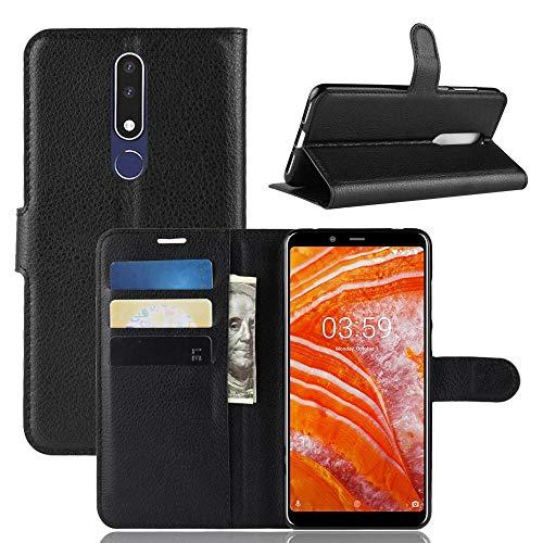 ECENCE Custodia a Portafoglio Protettiva Cover Wallet Case Compatibile per Nokia 3.1 Plus Nero 13040204