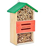 Andrew James Wooden Insect House - The Perfect Home For Natural Pest Control Creatures Like Ladybirds and Lacewings, As Well As Bees