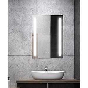 ALLDREI Antibeschlag Badspiegel mit Beleuchtung - AD027A Badezimmerspiegel mit LED licht, Touch Schalter - Senkrecht Montage 50 x 70 cm, IP44, Weiß Lichtfarbe, 6500K, Lumen 936, Energieklasse A++