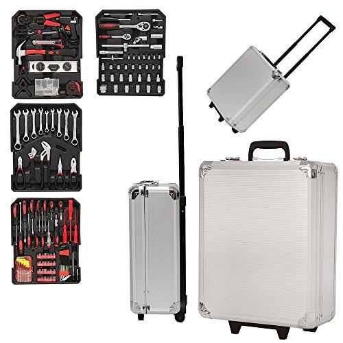 Grafner Werkzeugkoffer mit RINGRATSCHEN 399 teilig Werkzeugkasten Werkzeug Koffer Werkzeugtrolley...