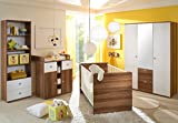 Babyzimmer WIKI 4-teilig Komplettset Walnuss und weiß Babybett Wickelkommode Kleiderschrank