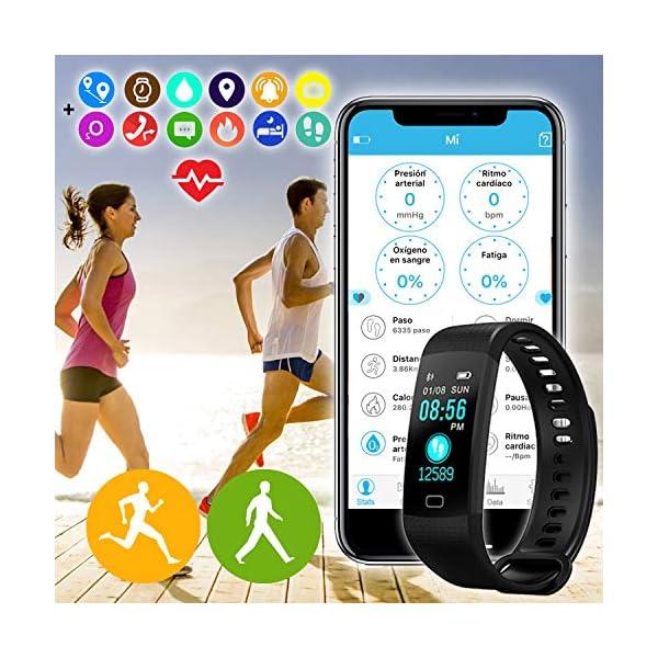 Pulsera de Actividad Inteligente FitBand cRadia con pantalla táctil, pulsómetro láser, monitor de Frecuencia Cardíaca HR, Podómetro, resistente al agua con protección IP67, contador de pasos y monitor de Sueño para Android y iPhone 2