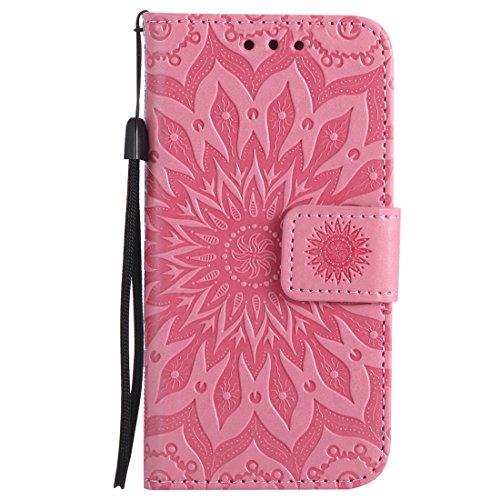 Chreey iPhone 5 / 5S / SE Hülle, [Prägung Indische Sonne] Lederhülle Sonnen Blume Brieftasche Wallet Tasche Magnet Flip Case Handyhülle Etui mit Kartenfach Ständer [Rosa] (Rosa Iphone 5s Armband)
