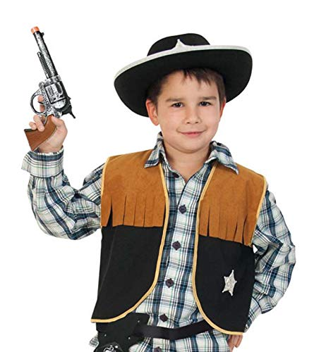 KarnevalsTeufel Kinderkostüm-Set Sheriff, 3-TLG. Weste, Cowboyhut und Spielzeug-Revolver | Größen 104 - 164 | Cowboy, Wilder Westen, Karneval (152)
