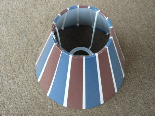 runder Schirm für mittelgroße Tischlampe mit Fassung E27, mittlelblau/rotbraun/weiß gestreift (Gemusterte Stoffschirm)