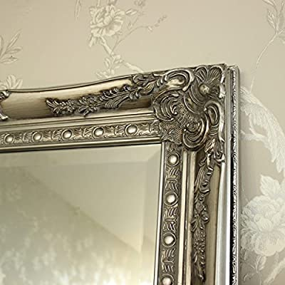 Große Kunstvoller Silber Wand/Boden Spiegel