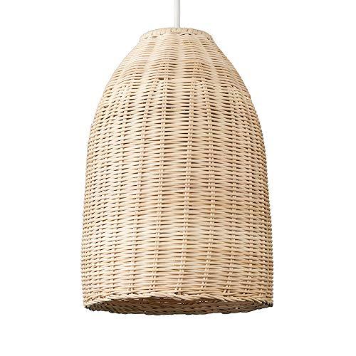 MiniSun - Moderner brauner Lampenschirm aus natürlichem Rattan in Form eines Körbchens - für Hänge- und Pendelleuchte