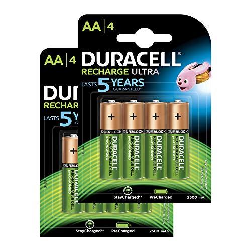 Duracell Recharge Ultra Piles Rechargeables type AA 2500 mAh, Lot de 8 piles (L'emballage peut Varier)