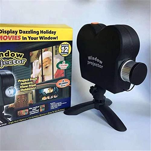 BARBEDINGROSE Projektor im Freien führte Lichtprojektionslampe, Starry Shower Weihnachtsfensterprojektionslampe 12 Film-Halloween-Anzeige, verwandeln Sie Ihre Fenster in einen Filmbildschirm