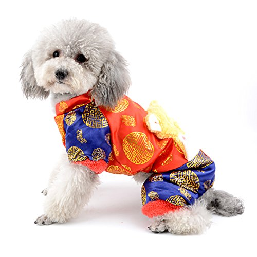 ranphy Chinese New Year Hund Overall Kostüm Traditionelle Tang Kostüme für Teddy, Mops, Chihuahua, Shih Tzu, Yorkshire Terrier, Papillon