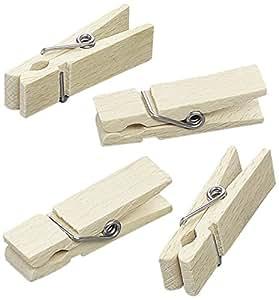 KnorrPrandell 45 x 13 mm-Lot de 10 mini-pinces à linge en bois certifié FSC Main Lot de 3–Naturel